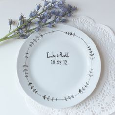 Wedding gift plate hand drawn by Mr Teacup on Etsy