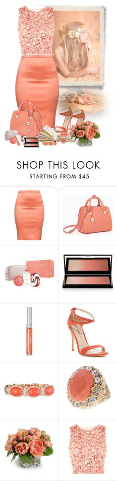 """Coral Colors"" by lorrainekeenan ❤ liked on Polyvore featuring Poesia, Max&Co., Bulgari, Kevyn Aucoin, Sisley, Via Spiga, Verdi, Ariella Collection, New Growth Designs and Lace & Beads"