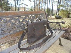 Dark brown mens leather bag messenger bag Briefcase Satchel
