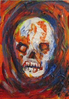 "colorful Skull original/abstract, acryilc ACEO jack larson 3.5""x2.5"" art card"