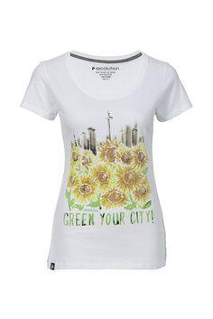6e7eebd51e7c recolution Fair trade Women Shirt GREEN YOUR CITY weiß Bio Baumwolle vegan  white organic eco fashion