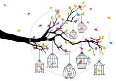 Spring tree branch with birds and open birdcages, digital, illustration, drawing, colorful, clip-art, clip art, clipart, print, card. $5.00, via Etsy.