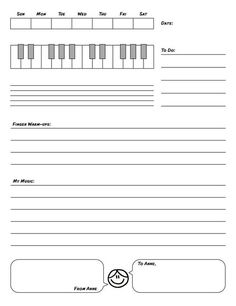 Piano Assignment Sheet  Piano Studio    Assignment