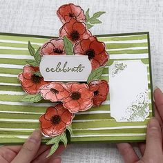 Stampin Up Painted Poppies, Painted Labels die, Peaceful Poppies DSP ** Karen Burniston Photo Collage die ** made by SoKnitpicky Fun Fold Cards, 3d Cards, Folded Cards, Poppy Cards, Interactive Cards, Up Book, Stamping Up Cards, Card Tutorials, Homemade Cards