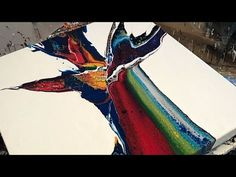 """""""Big Shot"""" Acrylic abstract paint pour on lazy Susan - YouTube"""