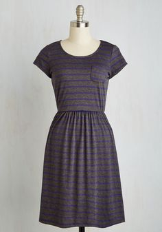 Casual Inclination Dress in Stripes. Even when the day is relaxed, you opt to look your best, choosing this heathered grey A-line! #grey #modcloth