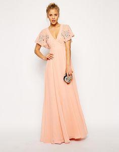 f9acf9e50e6 Flutter Sleeve Beaded Maxi Dress