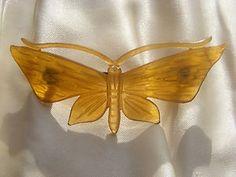 Antique Art Nouveau Horn Butterfly Moth Brooch Pin Cattle Horn