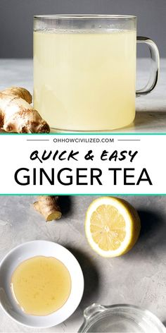 Ginger tea is a wonderful remedy for an upset tummy, especially morning sickness. Make your own with this easy recipe. I've learned to always keep these ingredients on hand for when a stomach ache might crop up. Make ginger tea in a flash! Tea For Bloating, Tea For Colds, Ginger Drink, Ginger Tea, Fresh Ginger, Yummy Drinks, Healthy Drinks, Healthy Recipes, Yummy Recipes