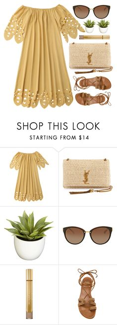 """Alabama"" by monmondefou ❤ liked on Polyvore featuring Yves Saint Laurent, Nearly Natural, Michael Kors, Burberry, Stuart Weitzman, yellow and brown"