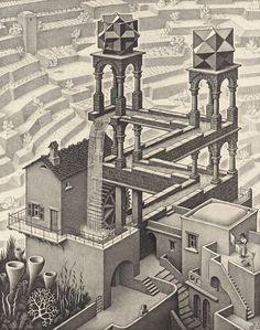 Escher (Waterfall) Art Poster Print - Art Poster Print Art Poster Print by M. Escher, Art Poster Print by M. Illusion Kunst, Illusion Drawings, Illusion Art, Escher Kunst, Inspiration Artistique, Magritte, Dutch Artists, India Ink, Art History