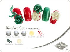 Christmas art set Bio Sculpture Nails, Sculpture Art, Bio Art, Gel Color, Nail Art Galleries, Holiday Nails, Christmas Art, Winter Holidays, Image