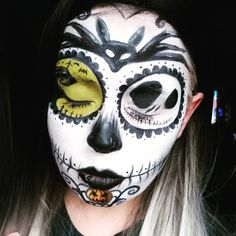 Nightmare before Christmas sugar skull makeup.