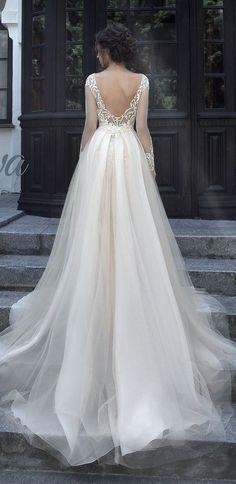 Milva v back wedding dress with long sleeves #wedding #weddingdresses