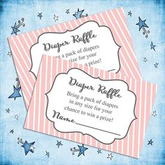 Pink Baby Shower Printable Diaper Raffle Insert by piggyprints