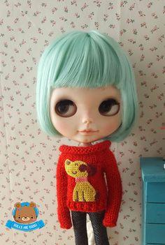 #Blythe #dog #sweater #red #Mitilene #Etsy #shop