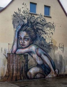 Herakut New Mural In Freiburg, Germany - Grafiti. Graffiti Art, Murals Street Art, Pintura Graffiti, Street Art Utopia, Art Mural, Urban Street Art, 3d Street Art, Street Artists, Amazing Street Art