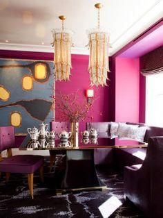 fushia walls for a bold dining area
