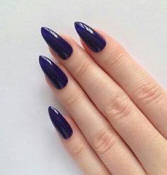 Indigo Stiletto nails Nail designs Nail art Nails Stiletto nails Acrylic na Purple Stiletto Nails, Stiletto Nail Art, Acrylic Nails, Cute Nails, Pretty Nails, Hair And Nails, My Nails, Nail Treatment, French Nails