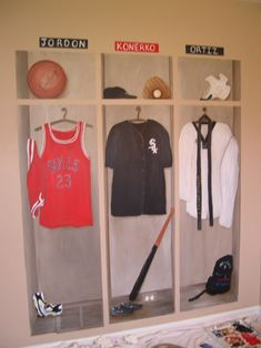 Cool Sports Murals for Boys Rooms or make the real thing out of wood and use as a closet or a place to store child's sports equipment or other things