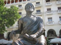Aristotle statue in Aristotle square, down town Thessaloniki. Thessaloniki, Troy, Goddesses, Buddha, Greece, Statue, Explore, Greece Country, Sculptures