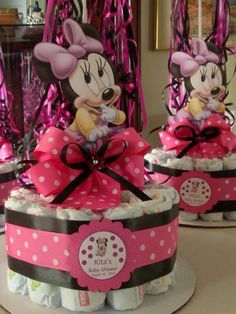 Minnie Mouse Baby Shower Diapers Centerpiece with Balloon by designsbyemilys on Etsy