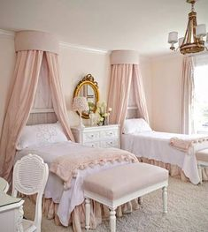 This is a charming bedroom for girls.