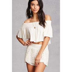 Forever21 Crochet Knit Shorts ($28) ❤ liked on Polyvore featuring shorts, beige, beige shorts, knit shorts, crochet shorts, dolphin hem shorts and forever 21