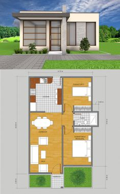 18 Small House Designs with Floor Plans - House And Decors Bedroom House Plans, Dream House Plans, Modern House Plans, Small House Plans, House Floor Plans, Simple House Design, Modern House Design, Loft Stil, Bungalow House Design