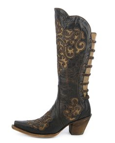 <p>Look your trendy cowgirl best and adorn these women's Western boots! Handcrafted from leather, these snip-toe boots showcase intricate cutout inlay details all over and weaved back straps. They also feature cushioned insoles and leather linings provide much comfort, and leather outsoles make for confident strides.</p>