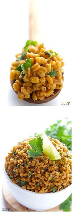 Cilantro Lime Farro -- trade in traditional white rice for healthy, chewy farro in this easy recipe http://www.gimmesomeoven.com/cilantro-lime-farro-recipe/