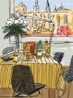 Original illustration of Javier Mariscal's home window hand-signed by him exclusively for Barcelona Original Designs. Food Illustrations, Illustration Art, David Hockney, Ipad Art, Urban Sketchers, Small Paintings, Ballet, Art Tips, Fashion Sketches