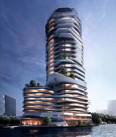 Modern building by George_daou_visualization – Architecture is art Office Building Architecture, Creative Architecture, Unique Architecture, Futuristic Architecture, Facade Architecture, Architecture Visualization, Future Buildings, Modern Buildings, Beautiful Buildings