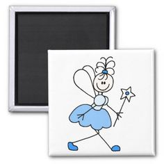 Blue Stick Figure Angel Magnet Magnet