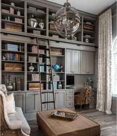 Home office/library a la Restoration Hardware.