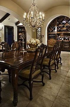 ~~Built in Wine Cabinet~~awesome bar for basement one day Home Design Decor, House Design, Home Decor, Dining Rooms, Dining Area, Tuscan House, Austin Homes, Mediterranean Decor, Wine Cabinets
