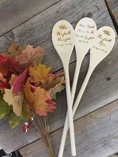Set of 3 Rustic Wood Spoon II  Heap on the thoughtfulness and serve up the charm with these custom cool wooden spoons, mixing it up for you and your special event. Sumptuous for showers and gorgeous as gifts – your guests will eat them up! Your secret recipe for fun laser-engraved with sentiments of the celebration for you.