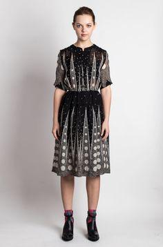 Vintage Dress Japanese S// 70s Dress// Forest by Doppelstandard