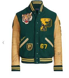 Polo Ralph Lauren Wool Blend Leather P-Patch Tiger Letterman Varsity Jacket XL Varsity Jacket Outfit, Polo Ralph Lauren, Sports Jacket, Sweater Jacket, Swagg, Casual, Mens Fashion, Fashion Tips, Letterman Jackets