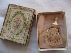 "Antique 1 5/8"" Peg Doll in Paper Box              Lovely little treasure"
