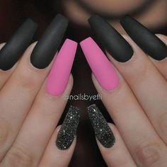 Pink, black, matte, glitter  @nailsbyeffi