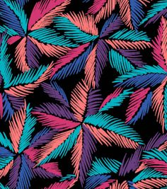 SUEDEsays Fabric-Palms Print Shantung