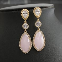 Wedding Jewelry Pink Earrings Bridal Earrings Wedding Earrings Gold Cubic Zirconia Posts with Light Pink Glass drops
