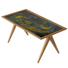 Enamel Coffee Table by Stig Lindberg and David Rosen for Nordiska Kompaniet | See more antique and modern Coffee and Cocktail Tables at https://www.1stdibs.com/furniture/tables/coffee-tables-cocktail-tables