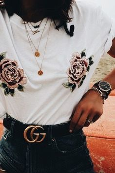 Rose printed white tee + jeans + Gucci black belt + aesthetic gold necklaces.