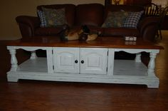 coffee table I painted white, then distressed.
