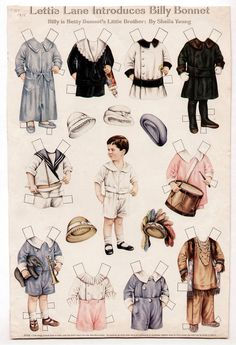 Vintage BETTY BONNET'S LITTLE BROTHER BILLY Paper Dolls Page May 1915 uncut/LHJ