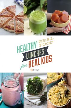 An amazing list of over 50 healthy real food lunch ideas for kids--recipes, tips, lunch gear, and even a video showing exactly what she feeds her kids.