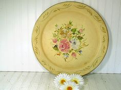 Oversized Round Metal Ivory Tray - Vintage  Hand Painted Floral ToleWare - Shabby Chic / BoHo Bistro Serving / Bakery Display