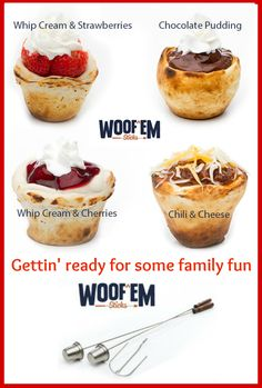 Woof 'Ems are so delicious and great fun to make. Gather the whole family around a campfire, fire pit (or a pile of coals in your back yard) and cook up these tasty treats! Fill 'em with whatever you want! $24.99 for the whole set!